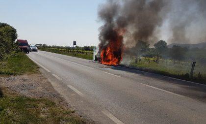 Furgoncino si incendia in corsa, illeso l'uomo alla guida