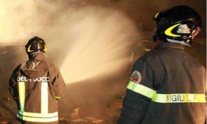 Bosco e vegetazione a fuoco a Clusane d'Iseo