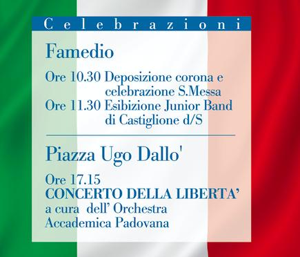 Programma delle celebrazioni del 74° Anniversario della Liberazione