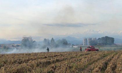 A fuoco un campo a Roccafranca: intervenuti i Vigili del fuoco