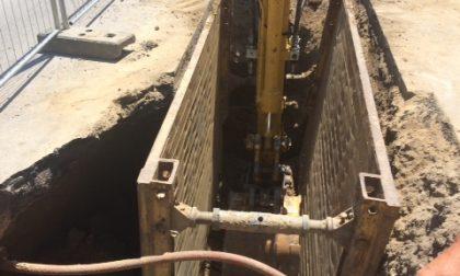 A Offlaga strada chiusa per scavi alla fognatura