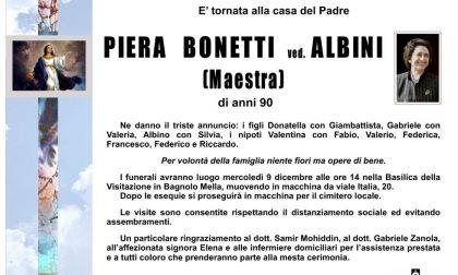 Bagnolo piange la maestra Piera Bonetti
