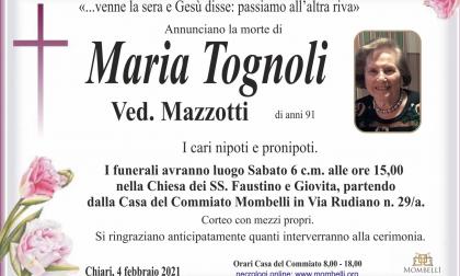 Addio a Maria Tognoli, presidente onoraria dell'Avis