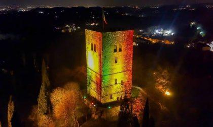 La Rocca di Solferino illuminata con il Tricolore per i 160 anni dell'Unità d'Italia