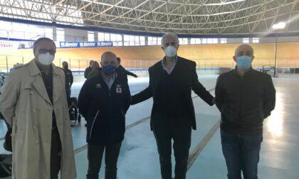 Il presidente del CONI Giovanni Malagò in visita al Velodromo