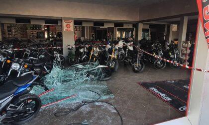 Spaccano la vetrina con l'auto e portano via le motociclette, colpo da 50mila euro
